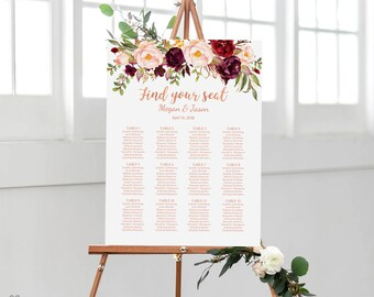 Wedding Seating Chart Template, Boho Chic Floral Wedding Table Plan, Seating Board, Seating Plan, Rose Gold #A087, Editable PDF