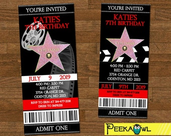 Printable Hollywood Birthday Party Invitation ticket - Red Carpet Birthday Party - Hollywood birthday invites - Red Carpet Invitation ticket