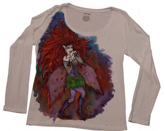 ooak fairy fantasy! wearable art !size large, scoop neck knit top