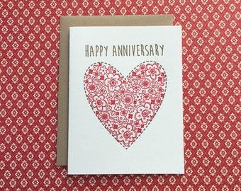 Floral Heart Anniversary Letterpress Card