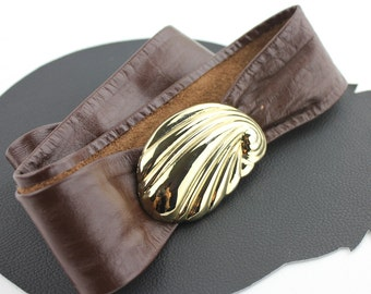 Gold Seashell Buckle on Brown Leather Belt - adjustable length up to 37""