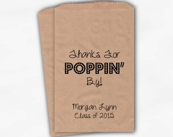 Thanks For Poppin By Popcorn Bags - Black Custom Candy Buffet Favor Bags for Graduation Party - 25 Kraft Paper Treat Bags (0113)