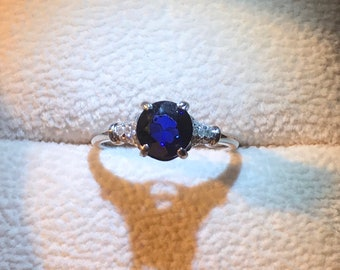 New 14k white gold natural sapphire and natural diamond ring
