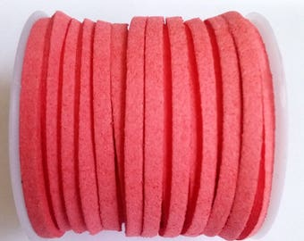 1 m 3mm coral pink suede cord