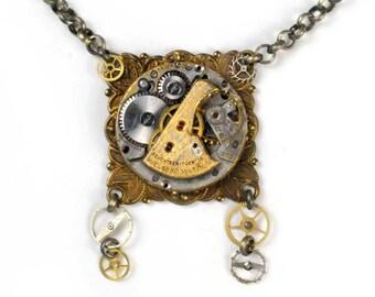 Antique Welbros Watch Movement Victorian Steampunk Necklace