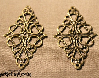 Iron, Antique Bronze, Diamond Shaped Filigree Finding with Vines & Swirl Design, Set of 2