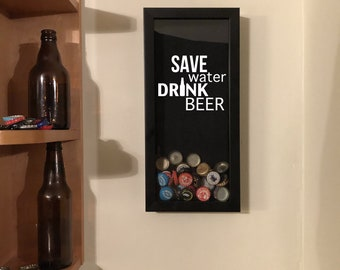 """Save Water Drink Beer - Beer Cap Collection - Shadow Box (6"""" x 14"""") - Vinyl Decal Gifts, Home Bar Accessories"""
