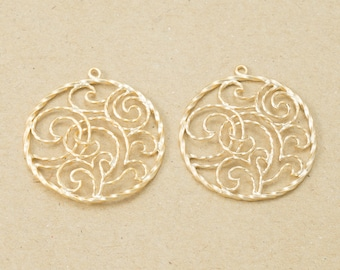Coin Oriental Filigree Pendant, Jewelry Craft Supplies, Jewelry Component, Matte Gold Plated over Brass - 2 Pieces-[AP0095]-MG