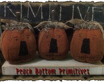 MAILED PAPER PATTERN~Primitive Fall/Halloween Lil Pumpkin Jack o Lantern Fellas