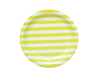 10 Yellow Striped Paper Plates Yellow Party Plates Birthday Paper Plates Yellow Baby Shower Plates Dinner Plates Yellow Wedding Cake Plate