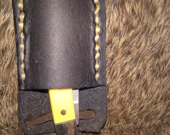 Custom Handmade Leather Neck Knife Sheath with Old Timer Minute Man Yellow Knife