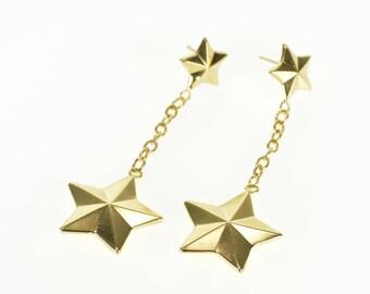 14k Geometric Ridged 3D Star Dangle Chain Post Back Earrings Gold