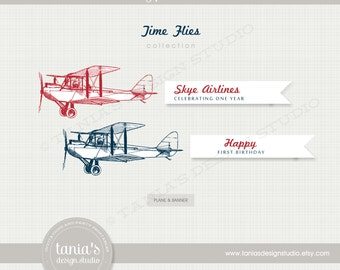 Time Flies Happy Birthday Plane and Banner - First Birthday - by Tania's Design Studio