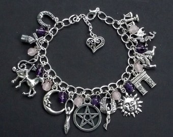Celtic Goddess Rhiannon Charm Bracelet with Amethyst and Rose Quartz. Pagan, Wiccan, Wicca, Witch, Welsh, Wales, Horse Goddess
