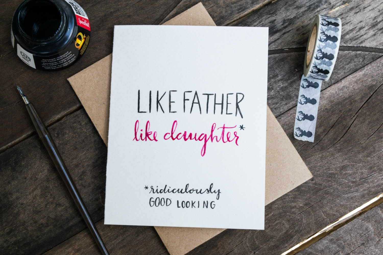 Handpainted father daughter card like father like daughter zoom kristyandbryce Images