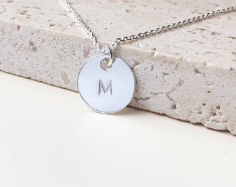 INITIAL NECKLACE Personalized Gift for women minimalist Letter Necklace gift for her round silver letter disc charm hand stamped initial
