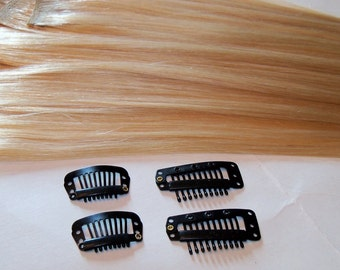 100% Human Hair Clip in Extensions Silky Straight Golden Honey Blonde