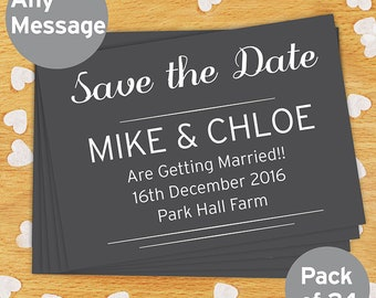 Personalised Classic Thank You Wedding Postcards Invitations Save the Dates Pack of 24
