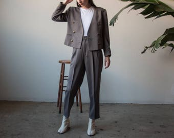 dark taupe gray 80s pant suit set / pleated trousers / boxy pant suit / US 6 / 2415o / B20