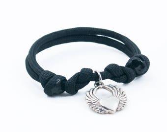 Angel Heart, Adjustable Bracelet, Paracord Bracelet, Valentines Day Gift, Angel Wings, Love Gifts, Valentine Bracelet, Black Heart Bracelet