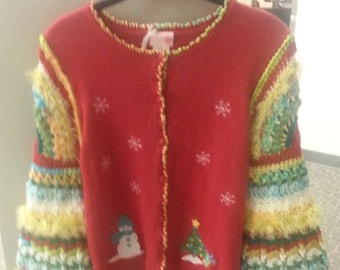 Weasley Snowman's Christmas Party Sweater, Little Girl, Size L 10 - 12