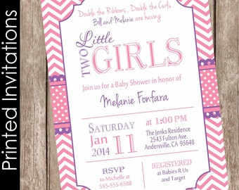 Printed Twin Girls Baby Shower Invitation, Pink and Purple, Chevron Baby Shower Invitation, (FREE ENVELOPES)