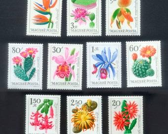 Exquisite Flower Postage Stamps from Hungary.  Perfect for Altered Art, Collage, Handmade Cards