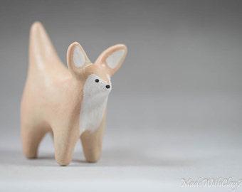 Pottery Fennec Fox - Miniature Ceramic Porcelain Clay Animal Cream Sculpture Decorative Home Decor Ornament - Terrarium Figurine