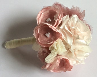 Shabby chic bouquet, pink bridal bouquet of fabric flowers, alternative bouquet, rustic wedding, by Blue Lily Magnolia