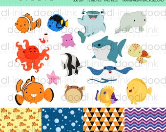 SALE 50%!!! Underwater Animal Movie Digital Clipart / Cute Fish Tank Cartoon Clip Art / Digital Paper For Personal Use / INSTANT DOWNLOAD