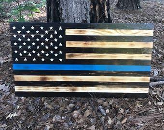 Blue line flag, Thin blue line flag, wooden blue line flag, police memorial flag, law enforcement flag, police sign, police flag, wood flag