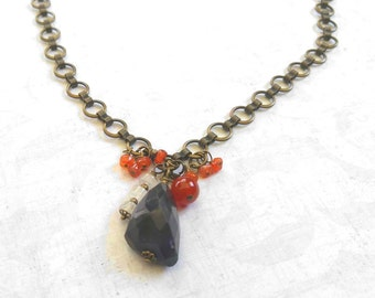 Faceted Dark Amethyst Gemstone Necklace With Orange Carnelian and Moonstones on a Gold-Plated Brass Circle Chain