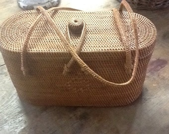 Vintage Tight Woven Straw Purse/Handbag