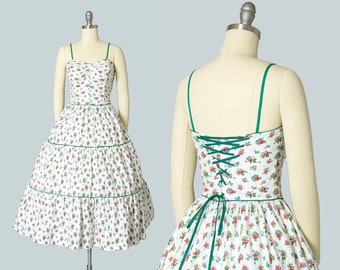 Vintage 1950s Dress | 50s Rose Floral Print Cotton Sundress White Lace Up Corset Tiered Circle Skirt Day Dress (small)