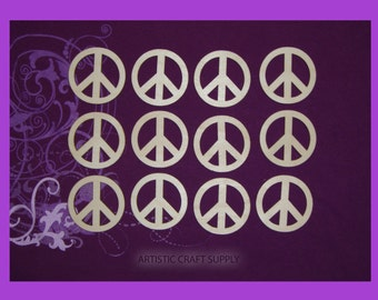 Peace Sign Symbol Unfinished Wood Cutouts 12 pieces