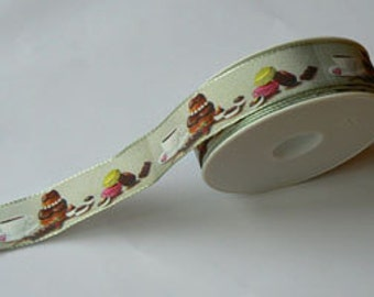 Ribbon buttons and delicacies grey background
