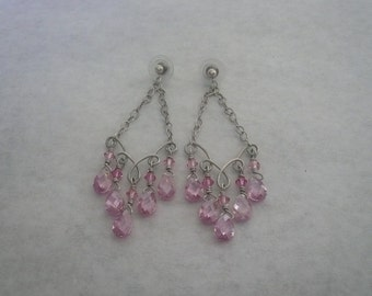 Kimadirose Chandelier Sterling Silver Hand Turned Earrings with Pink CZ Briolettes