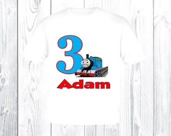 Thomas the Train Birthday Ringer Shirt. Personalized T-Shirt with Name & Age. 1st 2nd 3rd 4th 5th 6th 7th 8th 9th Birthday T Shirt. T102948