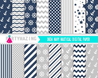 Navy Blue  Digital Paper Pack, 16 Nautical Scrapbook Background Paper, Chevron Background, Stripe, Cardmaking Printable Paper- D634