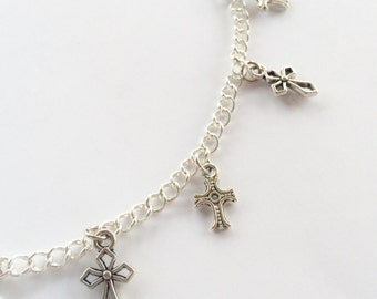 Cross necklace, charm necklace, silver necklace, silver, cross, christian, short