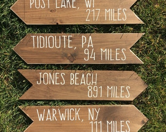 Distance sign | arrow sign | arrow | miles sign | handmade sign | custom directional sign | wall art | mile marker arrow | rustic decor |