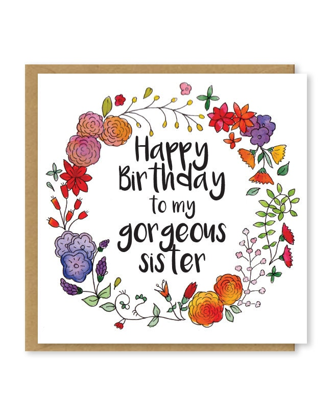 Happy birthday to my gorgeous sister sisters birthday card zoom bookmarktalkfo Gallery