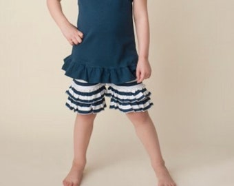 Girls blue and white striped ruffle shorts