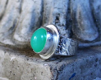 Handcrafted Sterling Silver Apple Green Australian Chrysoprase Textured Stone Wide Band Ring
