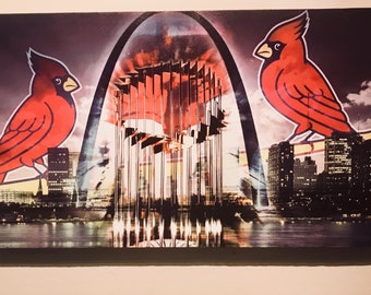 Cardinals canvas wall art for mancave framed ready to hang