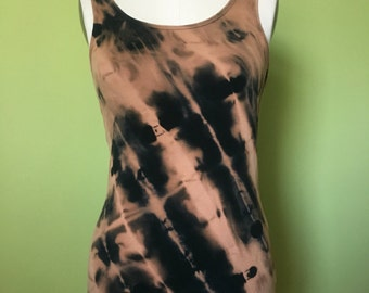Black tank top bleached to perfection, size L.