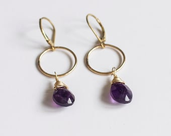 Gold Dangle Earrings / Gemstone Earrings / Handmade Jewelry / Bohemian Jewelry / Wedding Jewelry / Amethyst Earrings / Amethyst Jewelry