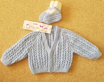 Baby Cable On It Cardigan and Booties