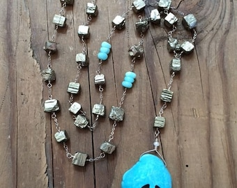 Pyrite Necklace / Turquoise Necklace / Bohemian Necklace / Peruvian Opal Necklace / Rosary Necklace