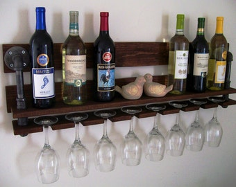 Reclaimed Wood Wine Rack Wine Bottle Wine Glass Pallet Wood Wine Rack with Black Pipe Eco Friendly